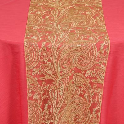 Closeup-Paisley-Lace-Gold-over-Dupioni-Watermelon